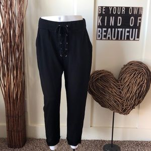 Zara basic collection black laced  fly joggers